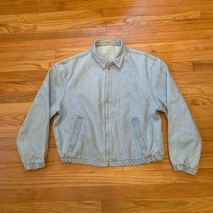 Vtg LL Bean Jean Denim Jacket ZIP Up Womens Large